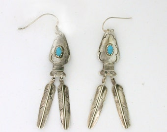 Turquoise Feather Dangle Earrings Sterling Silver - SS10006
