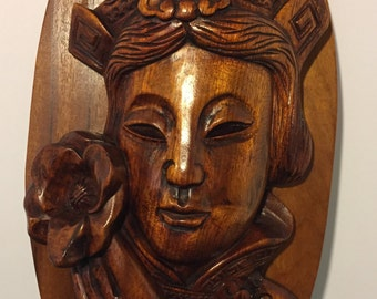 Carved Wood Asian Woman with Flower
