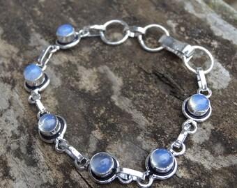 925 Boho Chic Opalite Sterling Silver Bracelet - Natural Stone Bracelet - Opal sterling silver bracelet - Opalite bracelet - Sterling silver