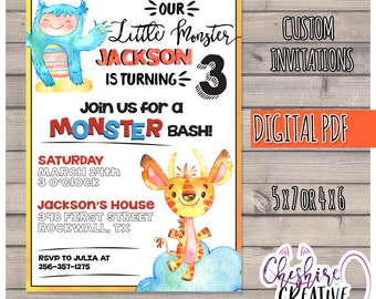 Monster Party Invitations, Cute Monsters, Monster Bash, Blue and Orange Monster Birthday Party, Birthday Invite