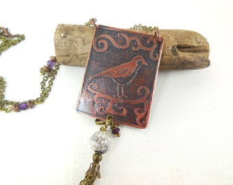 Necklace poetic, nature, bird, copper etched