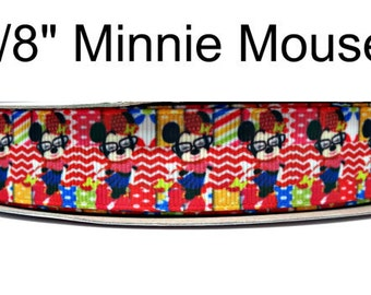 """Character Minnie Mouse Grosgrain Ribbon 7/8"""" Grosgrain Ribbon By The Yard For Hair Bows Gift Wrapping Scrap Booking Crafts"""