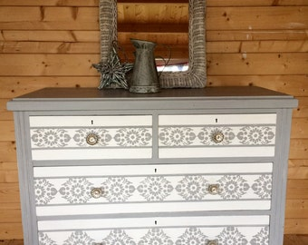 Now Sold-VINTAGE PINE CHEST Of Drawers -Dresser - Hand Painted in Annie Sloan Paris Grey mix with Old White