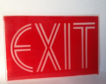 Antique Exit Sign/VTG Movie Theater Sign/1930's Movie Prop/Deco Exit Sign/Glass Exit Sign/Art Deco Theatre/Restaurant Decor/Deco Wall Decor