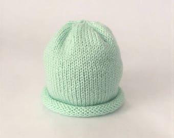 Baby Hat Hand Knit, Spring Baby Beanie - Mint (Newborn +)