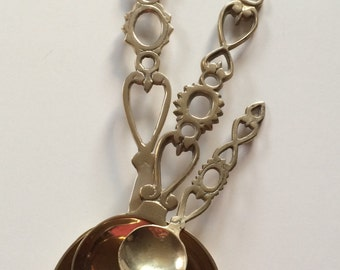Three, Decorative  Vintage Brass Spoons.  Great Decoraters Item!