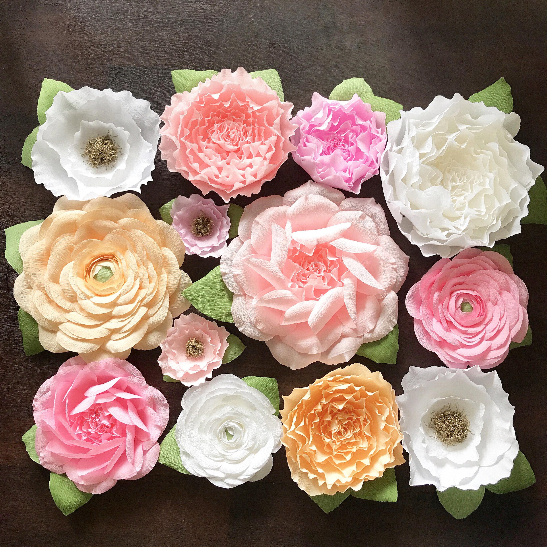 Assorted crepe paper flower backdrop set paper flower for Crepe paper wall flowers