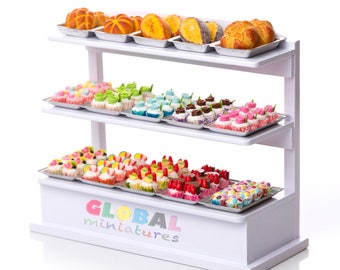 Dollhouse Miniatures Fruity Cup Cake and Bread on Aluminum Tray and Wooden Bakery Shelf