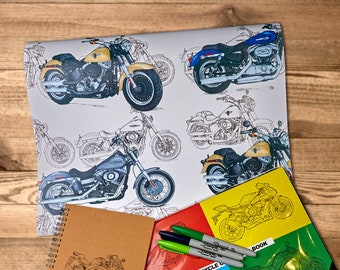 "The bold White Harley Gift Wrap - Motorcycle Wrapping Paper | A2 - 16.5 x 23.4in"" / 42cm x 59cm 