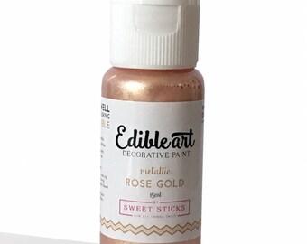 FAST SHIPPING!! Metallic Rose Gold Edible Art Paint, Edible Food Color