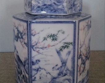 Vintage Blue and White Porcelain Tea Caddy Hexagonal Canister Chinoiserie Japan Dolphin China Dynasty Asian Export Hollywood Regency