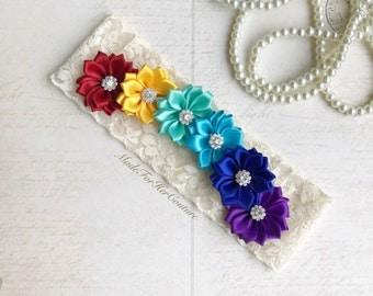 Rainbow Garter, Rainbow wedding garter, Rainbow bridal garter, colorful garter, rainbow flower garter, bridal garter set rainbow theme
