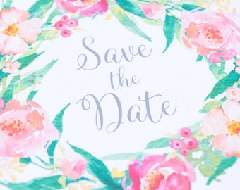 Save The Date Cards, Customisable Watercolour Botanical Spring Summer Rustic Wedding