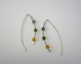 Earrings front / back - Sterling Silver - Swarovski beads - minimalist