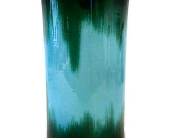 Italian Art Pottery, Cylindrical Vase with Unique Blue & Green Design