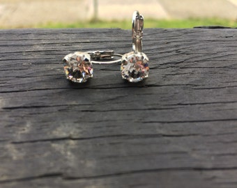 Swarovski crystal 8mm clear earrings