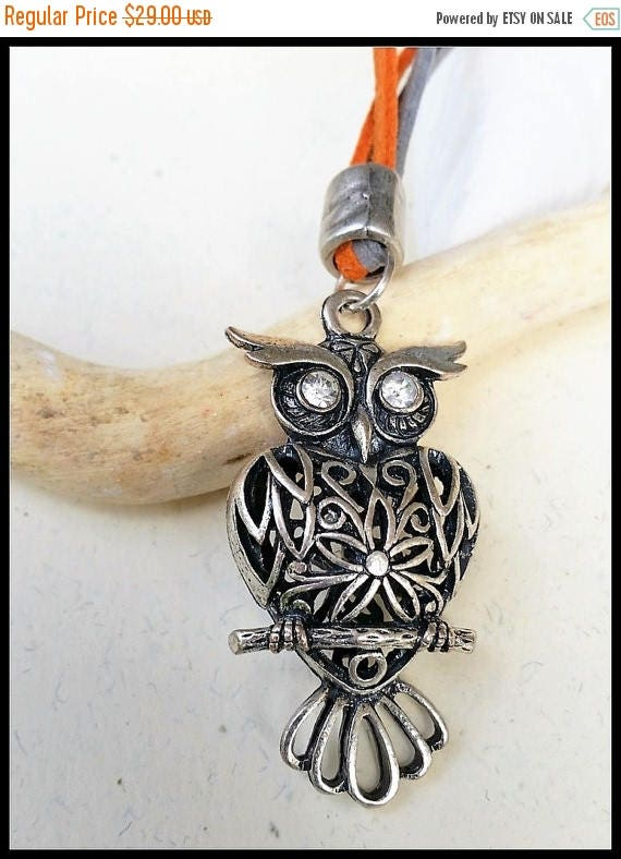 Free Shipping - Leather Owl Necklace, Metal Owl Pendant, Owl Leather Jewelry, Owl Statement Pendant, Owl Accessories, Funky Owl Pendant