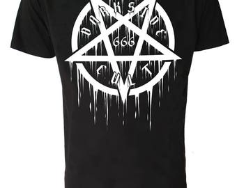 PENTAGRAM 666 T SHIRT Occult Satanic Goth Emo