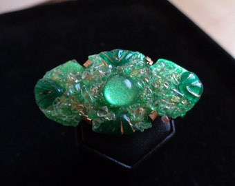 GREEN ENAMEL BROOCH