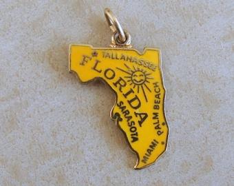 Florida Sunshine State Map Yellow Enamel Sterling Silver Bracelet Charm Gold Tint