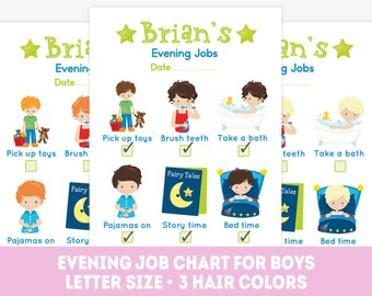 Boy bedtime chart, printable evening chore chart, children's Routine, kids behavior chart, routine chart, evening responsibility,  job chart