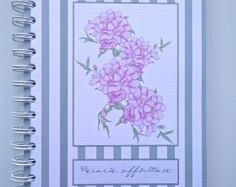 Notebook/Daily Planner Book, Peony with Stripes Design, Spiral Bound