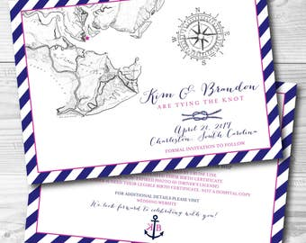 Charleston Save the Date Invitation Printable (front and back design) - Charleston Invitation - Nautical Wedding - Customize to any event!