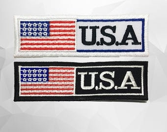 USA Flag Iron on Patch (L1)- USA Flag Applique Embroidered Iron on Patch- Size 9.9x3.2 cm