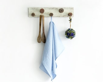 Light Blue Kitchen Towels made of stone washed natural linen