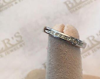 Vintage 14k white gold 10 Princess Cut Diamond Channel Set Wedding Band, .33 tw, J-SI2-I1, size 5.5, 2.65mm wide