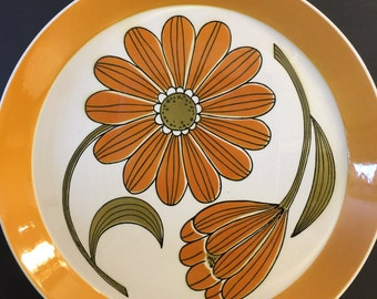 Vintage Mikasa Duplex Ben Seibel Serving Platter Inspire | Mid Century Dinnerware | Made in Japan | Orange Daisy | Replacement | Oven Table
