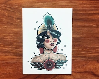 Temporary tattoos - The tattooed lady tattoo// traditional tattoo // gift for her // adult and kids temporary tattoos.