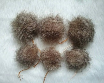 Sale! Luxury Faux fur Raccoon  Pom poms.Brown Pompoms. Faux fur poms for hats.RTS