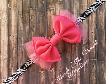 Baby Girls Hot Pink and Zebra Tulle Bow Headband