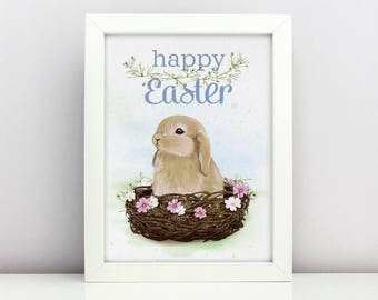 Baby Bunny Easter Print Poster Card Happy Easter Card Nursery Poster Adorable Baby Farm Animal Bunny Floral Nest Rabbit Spring Print