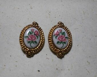 Avon Rose Cameo Earrings