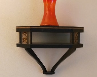 Vintage Black Wall Shelf With Gold Detail Decoration