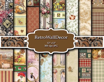 Digital Wrapping Paper , Scrapbooking paper  , Ephemera Digital paper , Gift wrapping paper , Digital background
