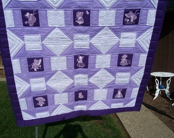 Lavender and Purple  Sunbonnet Sue Baby Quilt