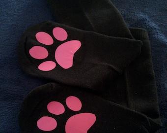Paw print socks - funny socks - cute socks - cat socks - cat lover gift - stocking stuffer for her - gift for her - gift under 10