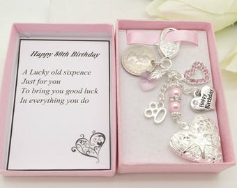 Personalised happy 80th birthday gift. Pink heart locket Lucky sixpence, charm, keyring,  gift box, choice of heart and number charm