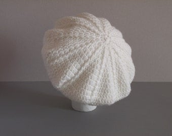 White Beret , Winter Hat with 3D Lines , Crochet Hat , Slouchy Beanie , Gift for Her