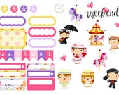 Practically Perfect Nanny - 2 Pages Set of Planner Stickers for Filofax, Kikki.K, ECLP, Happy Planner etc.