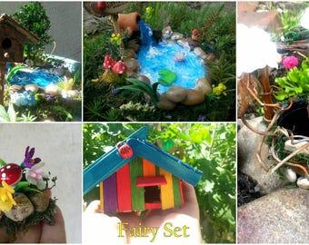 Fairy set, fairy garden kit, fairy house kit,fairy well, fairy accessories,fairy garden,fairy pond, pond, wishing well,fairy set, fairies