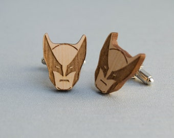 Wolverine X-MEN cufflinks , xmen wood cuff links with wolverine mask shape Marvel comics , men gift to Father's day