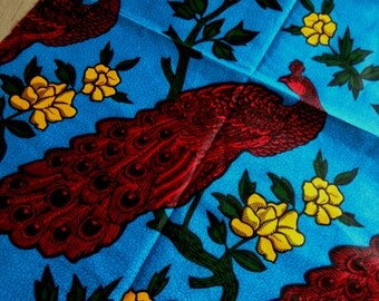 Wax Print Fabric with Large Peacocks pattern