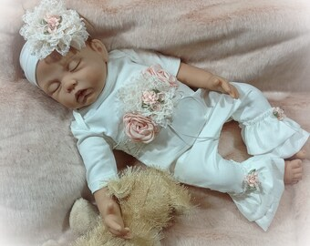 Baby Girl Coming Home Outfit, Newborn Girl Take Home, Victorian Baby Outfit, Ivory Peach Newborn Ruffle Romper