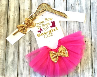 baby girl cowgirl outfit, bow to boots Im cowgirl cute, cowgirl baby shower, hot pink gold, baby girl outfit baby girl cloths cowgirl outfit