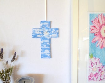 Wall cross for Easter, christening gift,  fabric crucifix, cloud fabric decor