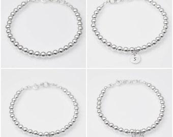 Sterling silver bracelet, sterling silver beaded ball bracelet, sterling silver charm bracelet, dainty bracelet, custom bracelet, 5mm bead